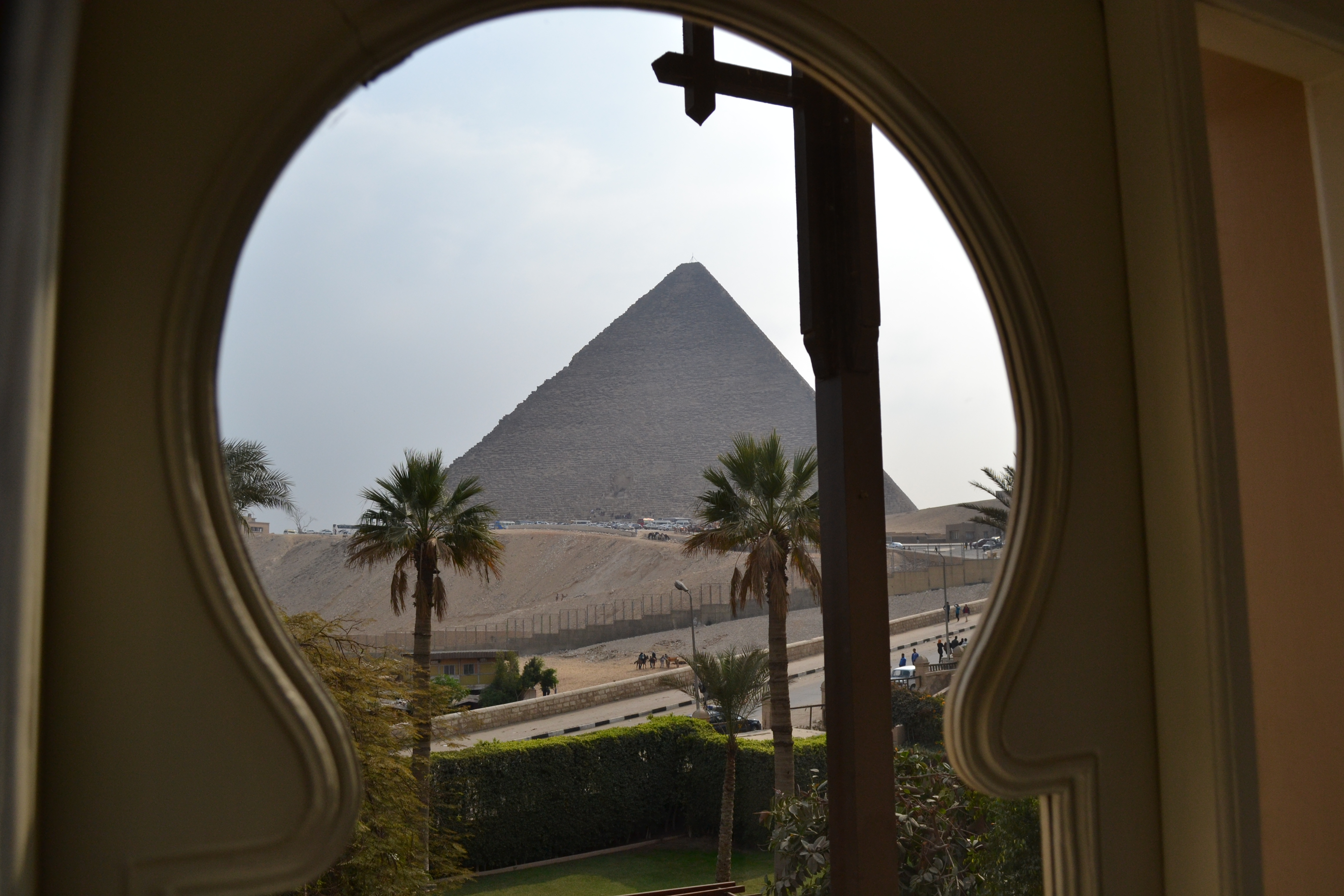 View from inside the 'Carter Suite' which hosted Jimmy Carter. Many of Mena House's rooms feature similar views.