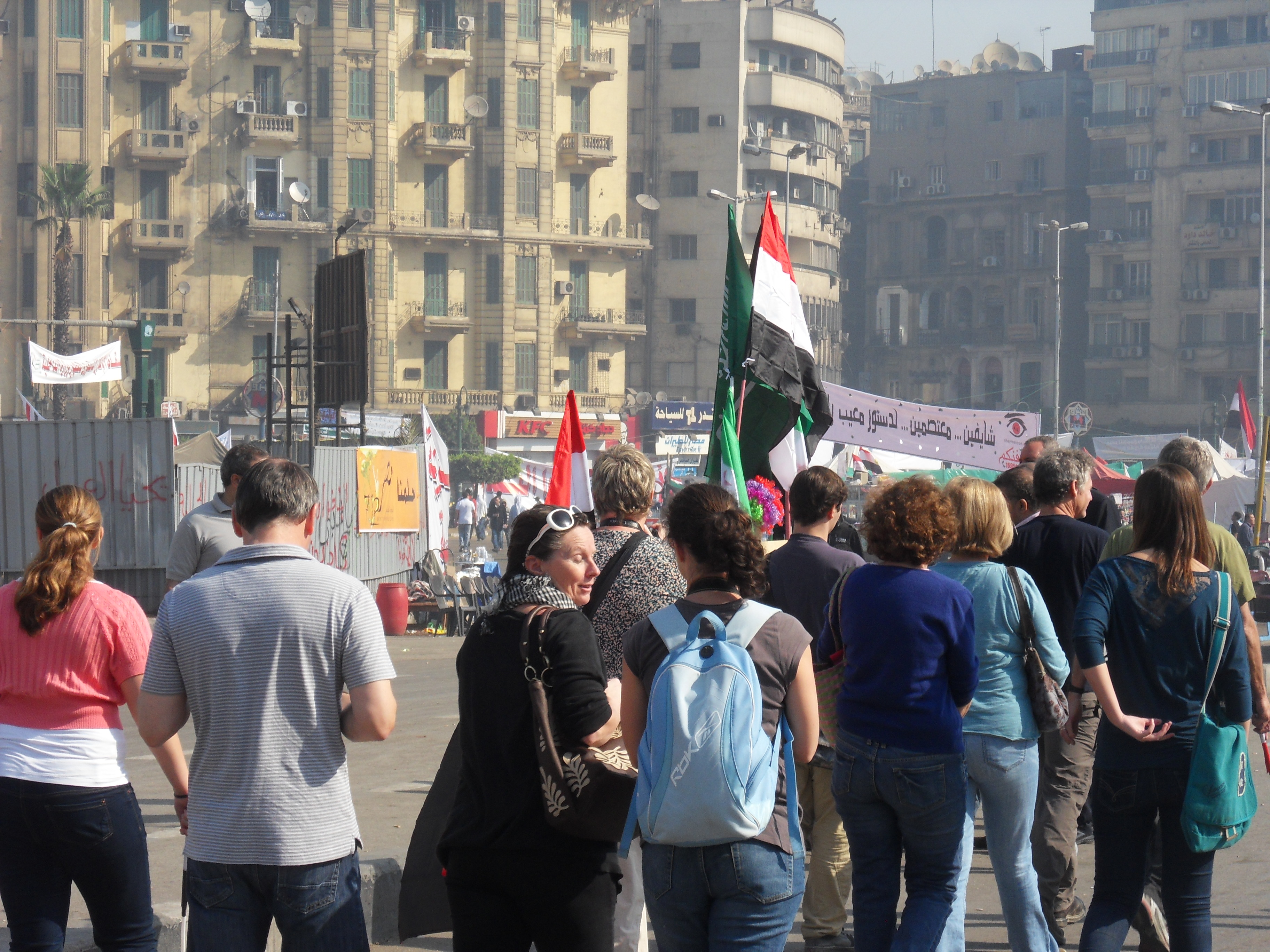 One of the tour groups entering Tahrir Square