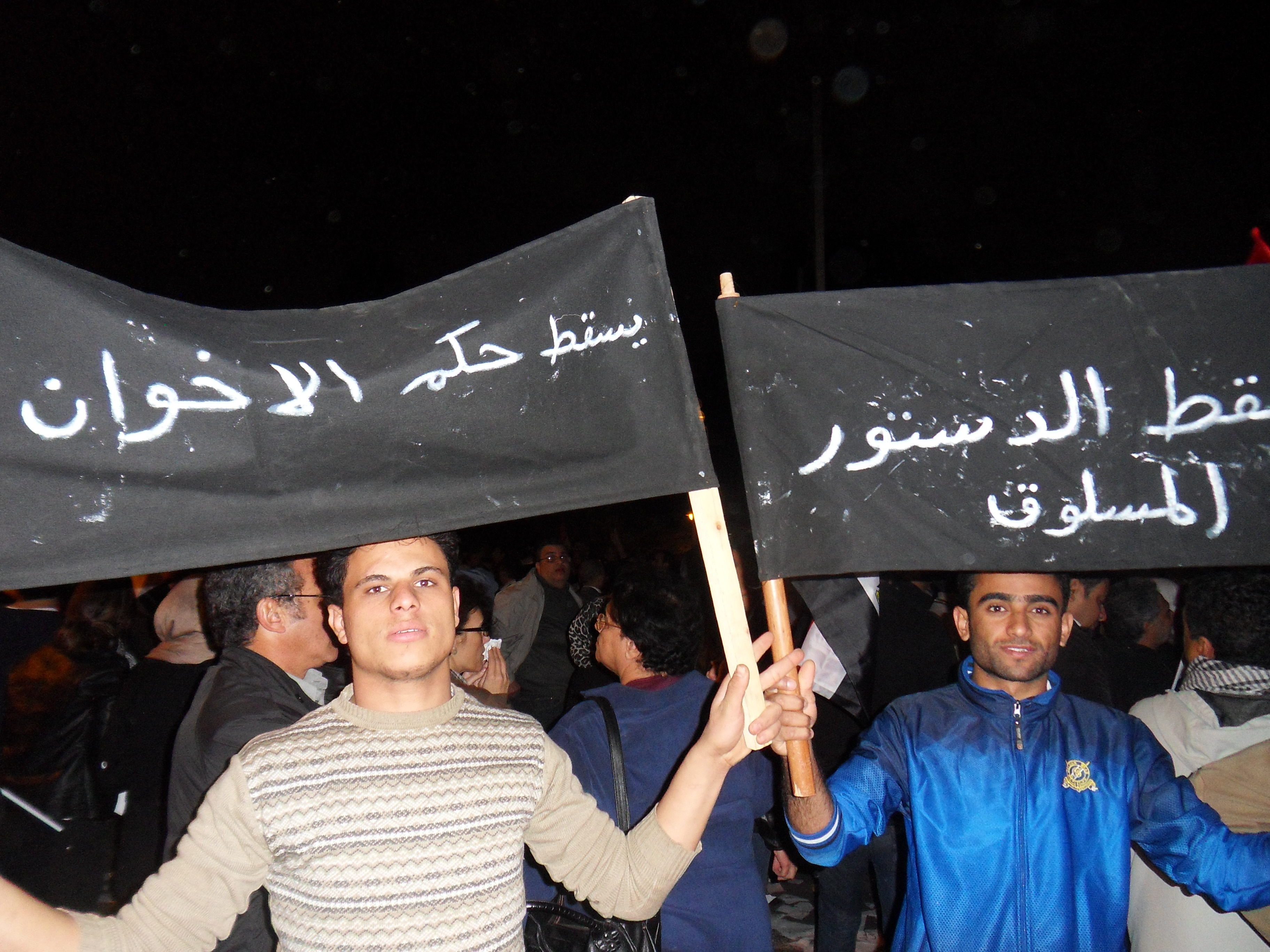 """The banner reads """"Down with the Muslim Brotherhood"""""""