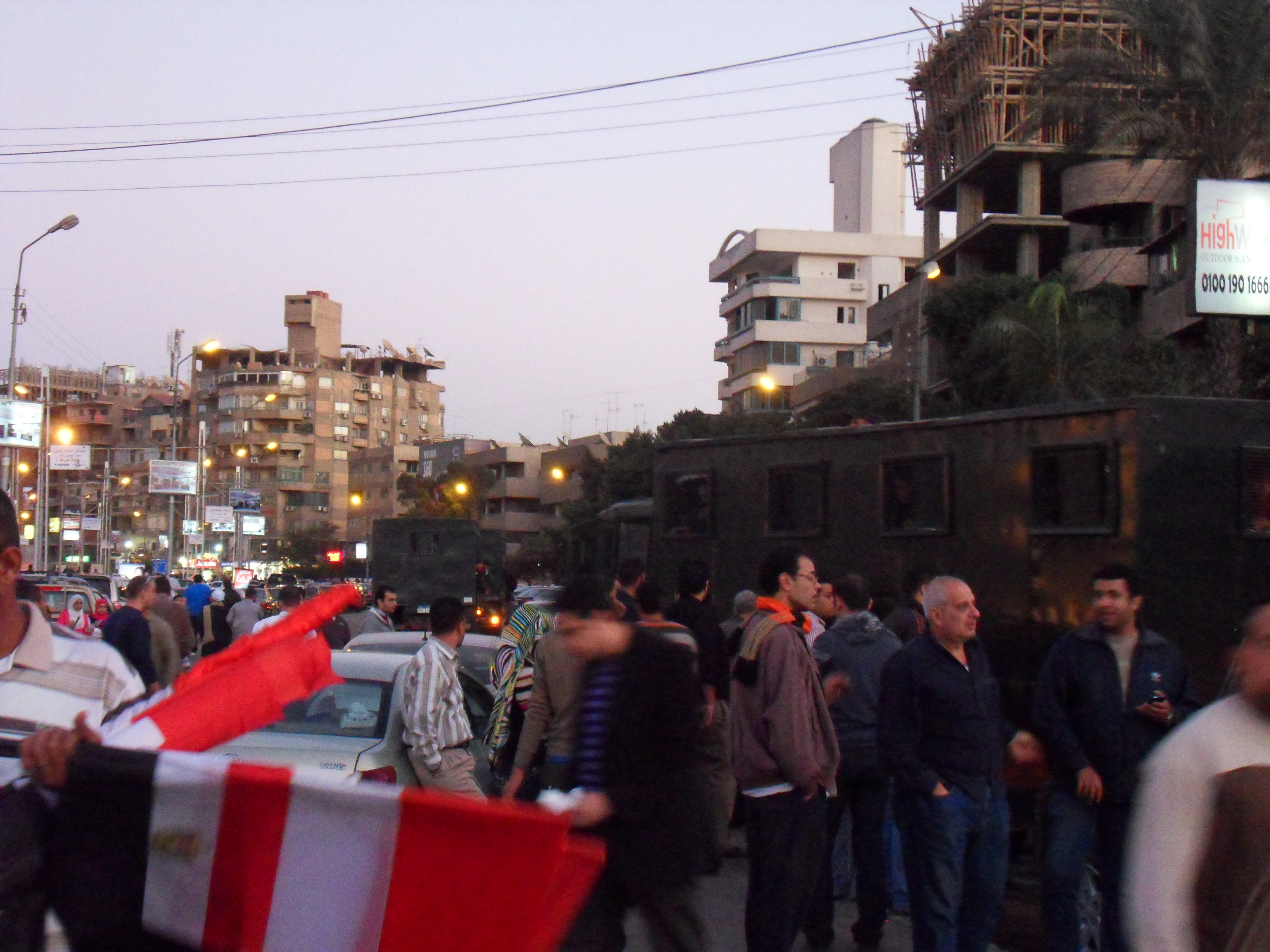 Interior Ministry Trucks near the protest zone.