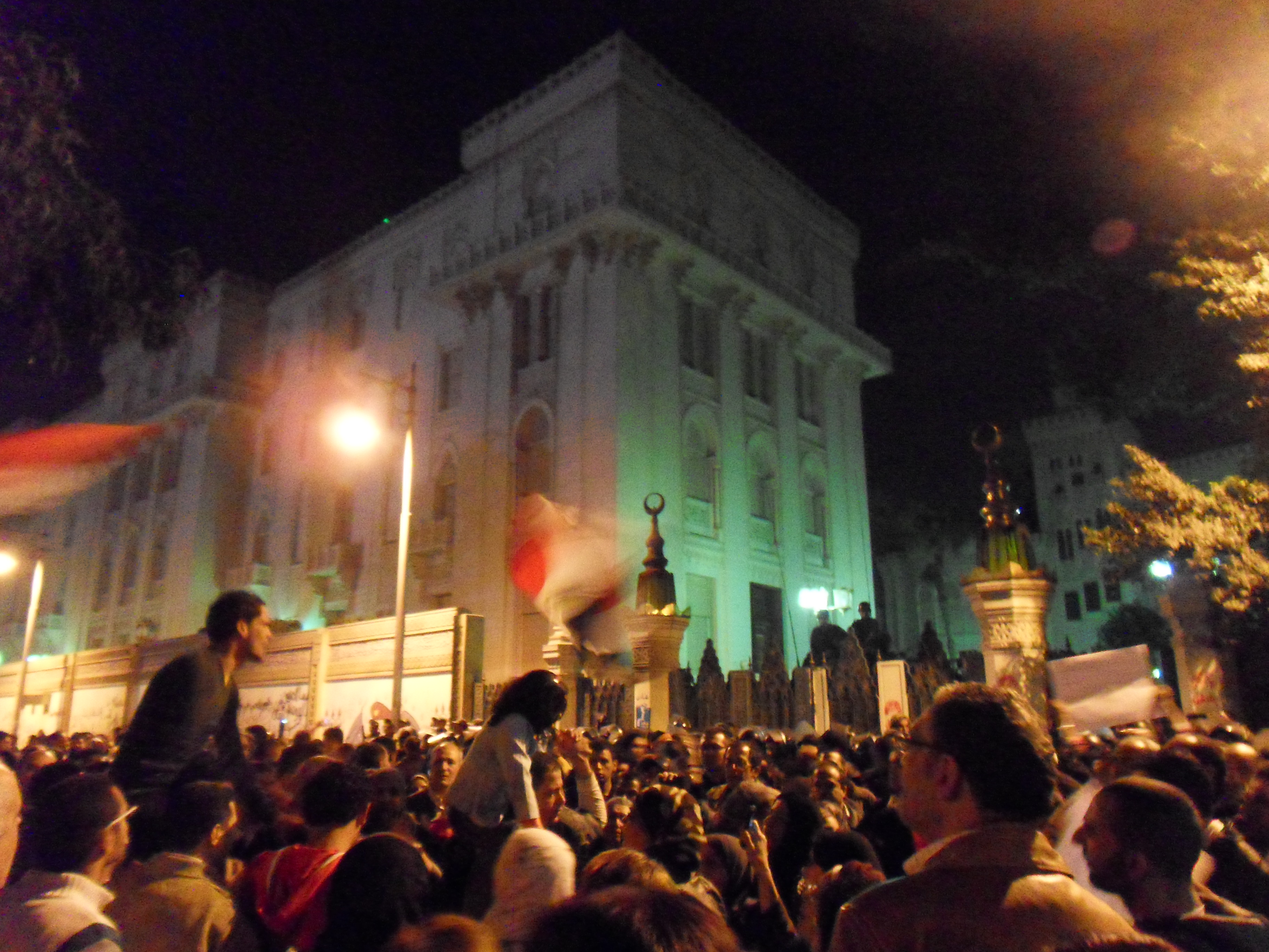 Protesters in front of one of the buildings in the Presidential Palace.