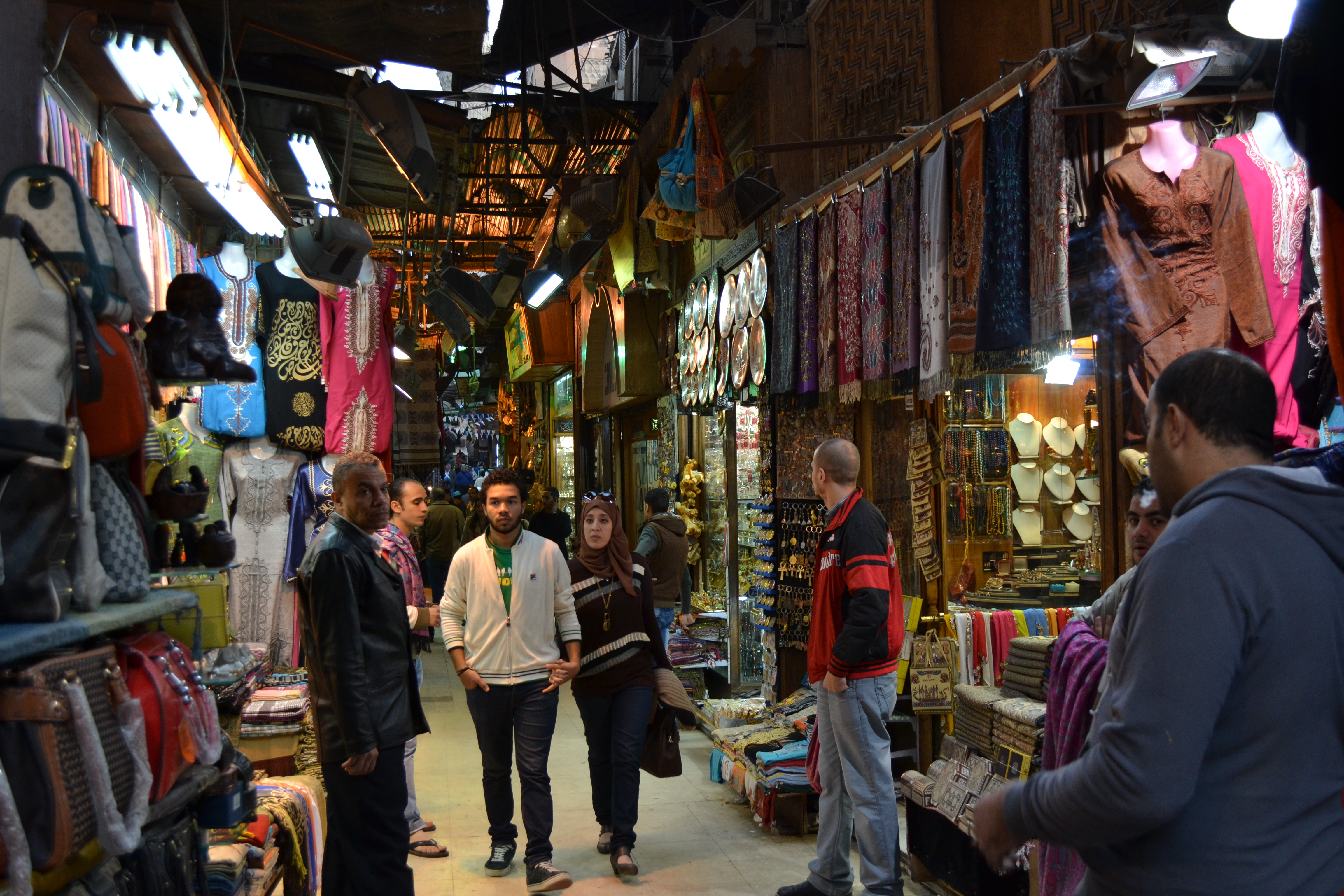 In the past, a picture like this would include tens of foreigners. Today it is simply two Egyptians walking past hawk-eyed shopkeepers.