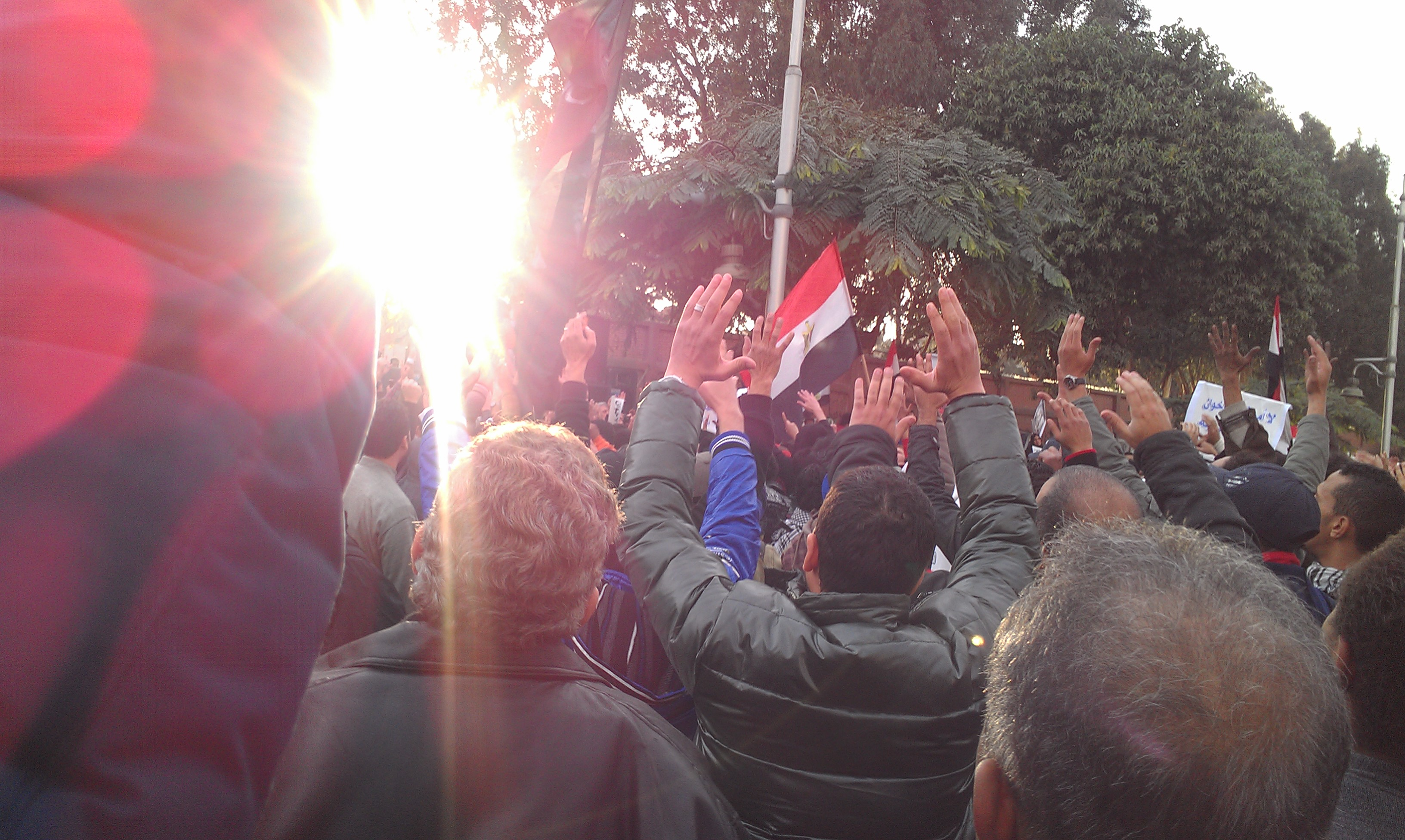 Before the clashes: many gathered outside the Presidential Palace calling for the ouster of Morsi.