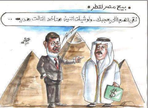 "A widely shared cartoon in Egypt depicting President Morsi telling Qatar's Emir ""Choose the Pyramid that you like. If you buy two, you'll get the third for free!"""