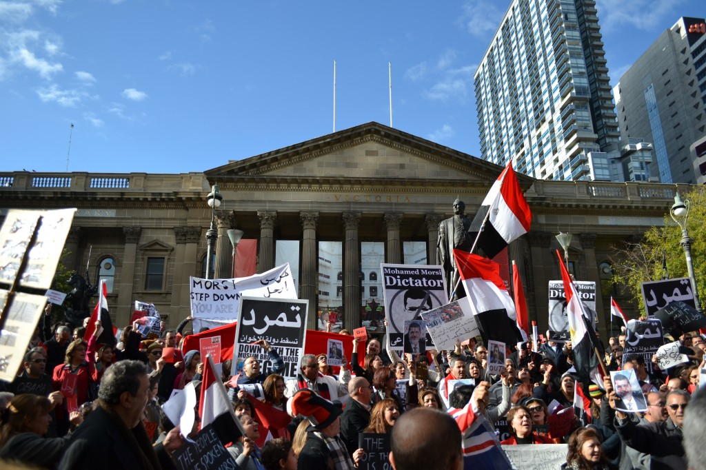 On June 30 2013, hundreds of Egyptians in Melbourne staged a rally calling for the ouster of deposed President Mohammed Morsi. Many in the country have supported Sisi since then. Credit: Mohamed Khairat