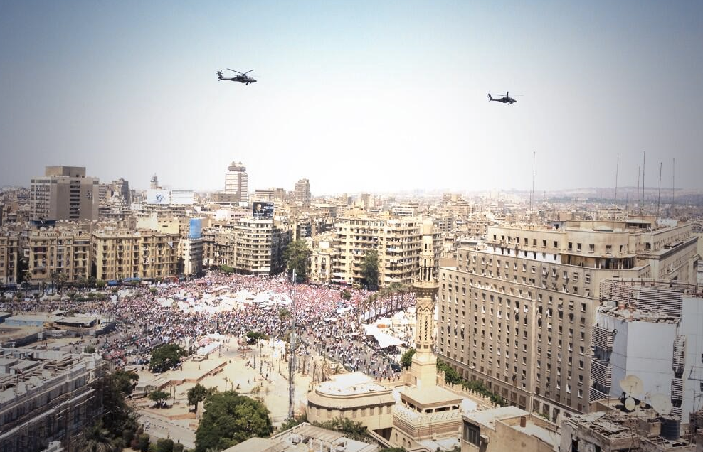 Military helicopters above Tahrir Square yesterday
