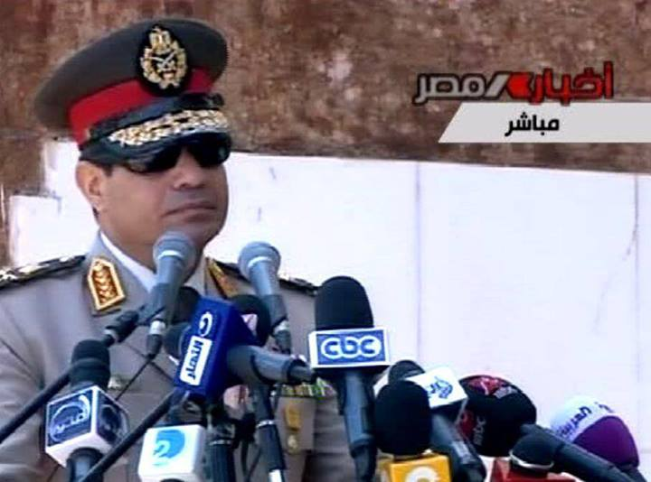 Egypt's Military Chief, Abdel Fattah Al-Sissi, during his address.