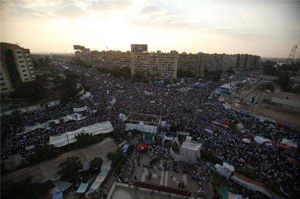 Morsi supporters gathered at Rabaa Al-Adaweya in 2013.