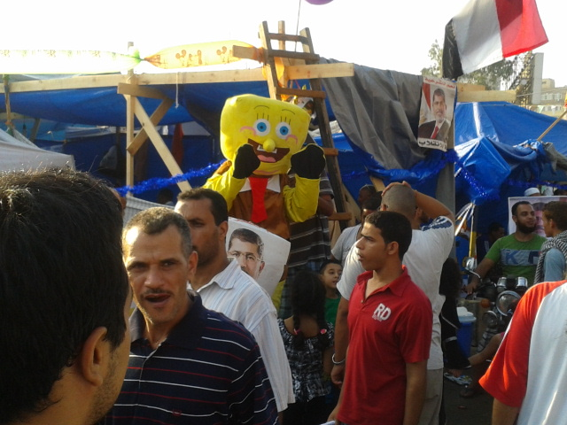 This is inside the camp on Tayran Street. Spongebob entertaining the kids.