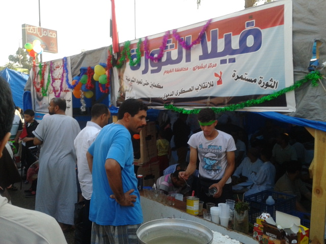 Demonstrators also have access to much-needed coffee and tea