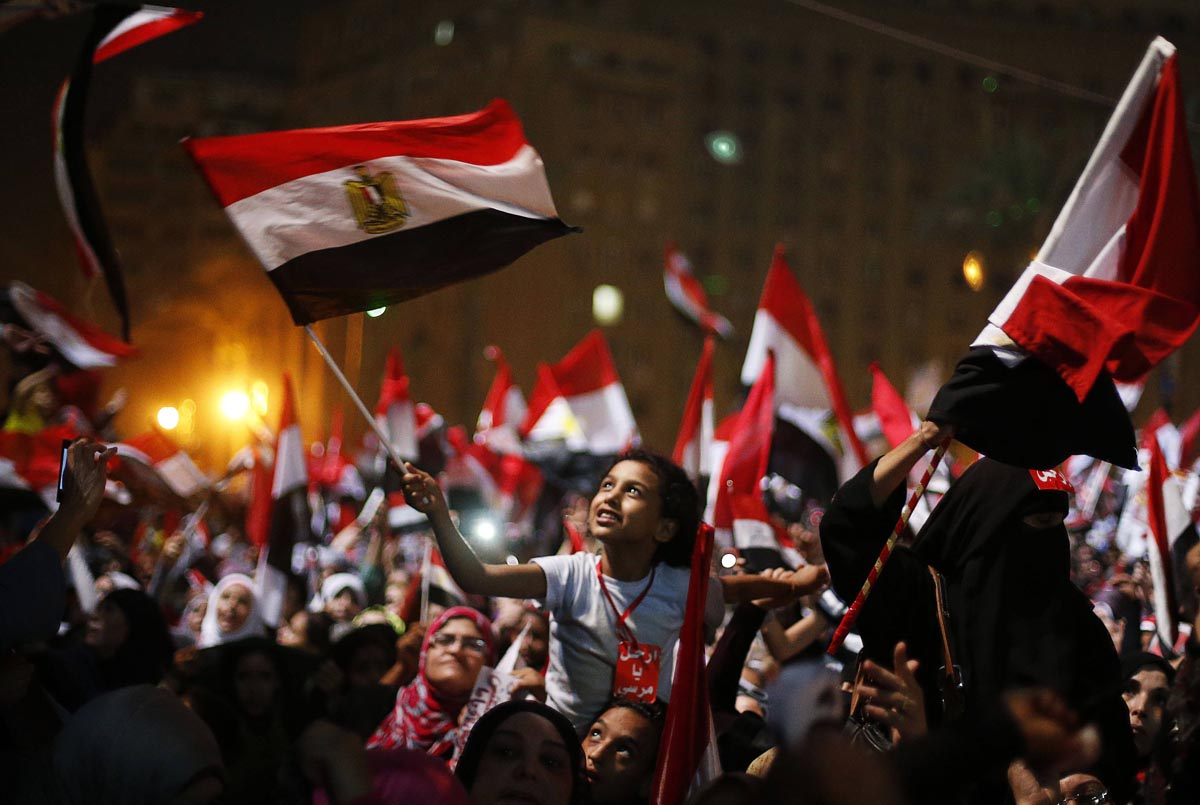 Egyptians celebrate in Tahrir Square when Morsi was removed from office (July 3)