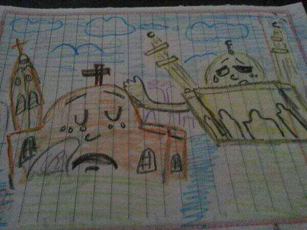 A schoolgirl in Upper Egypt drew this to show solidarity with Coptic Christians. The image went viral across Egypt.