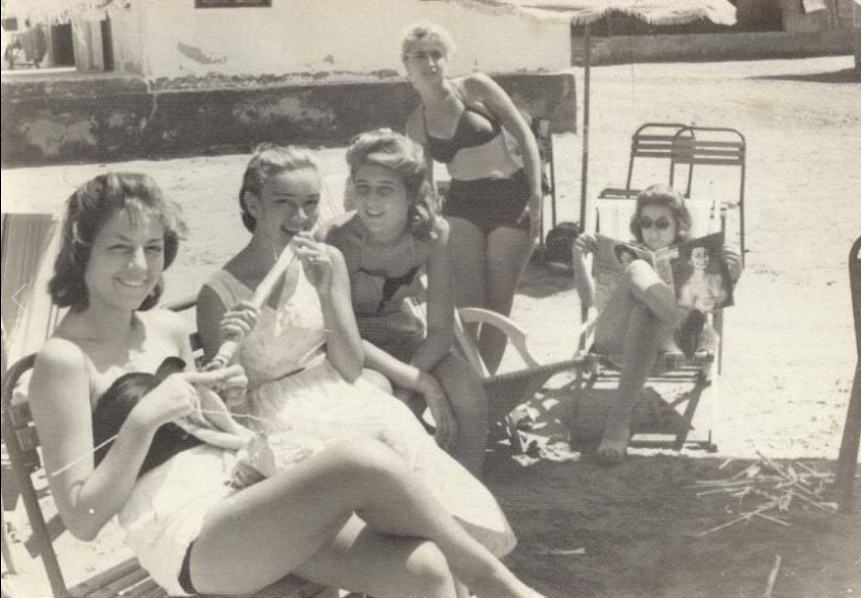 Beach-goers in the 1950s