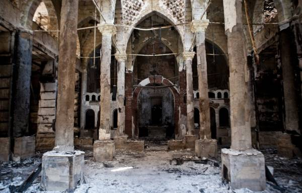 The interior of a church in Minya after it was attacked