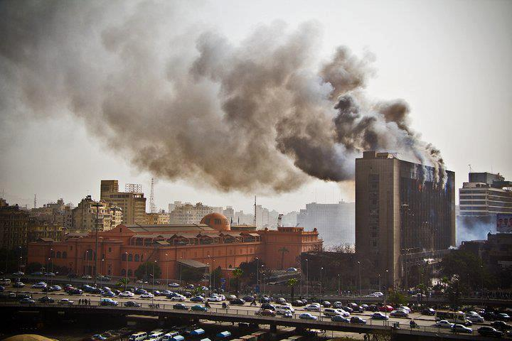 Mubarak's National Democratic Party HQ burns during the 2011 revolution.