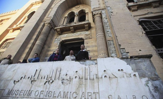 Entrance of the Islamic Art Museum in Cairo after it was damaged by a large explosion in 2014