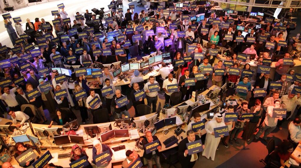 Al-Jazeera's Doha newsroom.