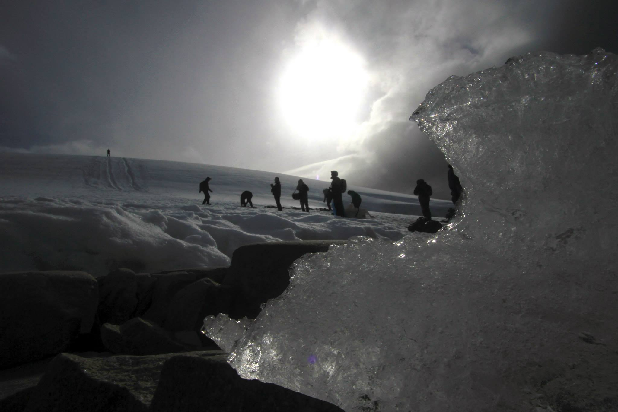 The team of 'adventurers' at the Antarctic