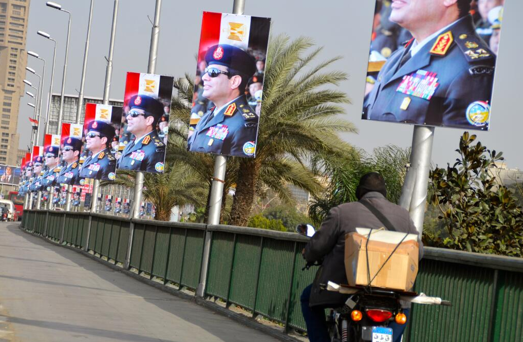 Posters in support of Al-Sisi on one of Cairo's most busy road ways, the October 6 Bridge in February 2014.