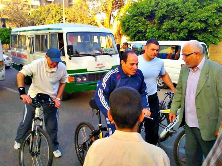 Sisi on a bicycle in New Cairo