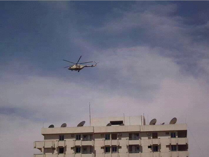 Military helicopter hovers over Aswan