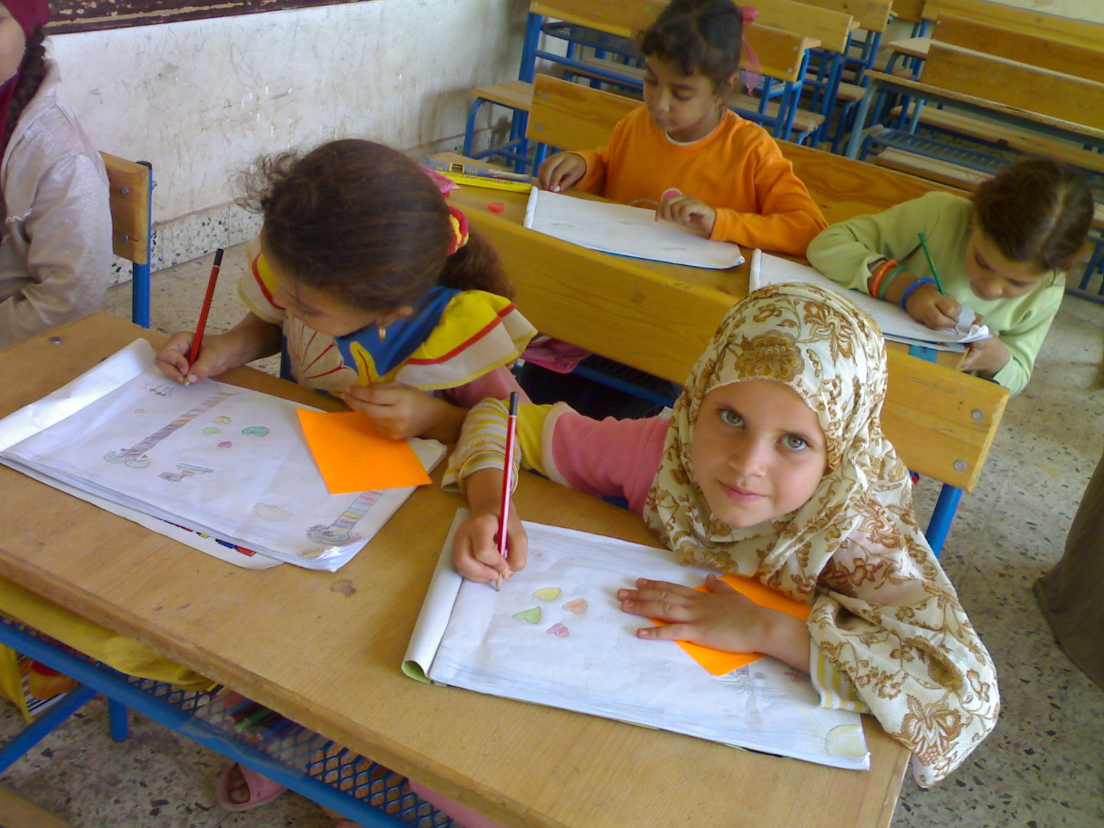 Students taking part in art activities in a public school in Egypt. Credit: World Education Staff.