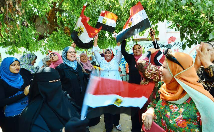 Egyptian women outside a polling station on May 26. Credit: Amir Makar/Aswat Masriya