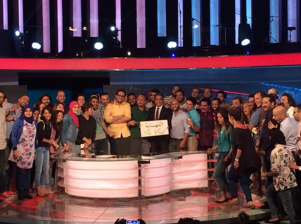 Bassem Youssef and his team announce the end of the show at a press conference