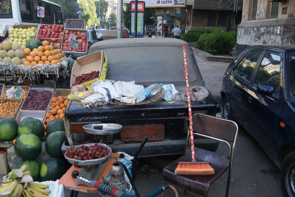 This car off Dokki bridge has become an unconventional fruit stand.