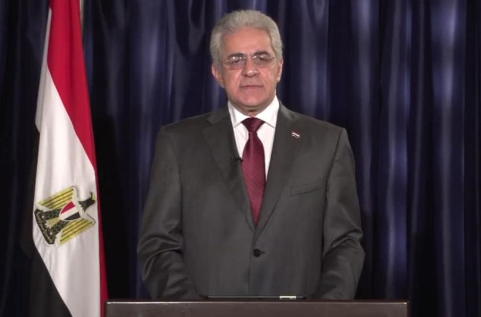 Presidential Candidate Hamdeen Sabahi during his televised speech.