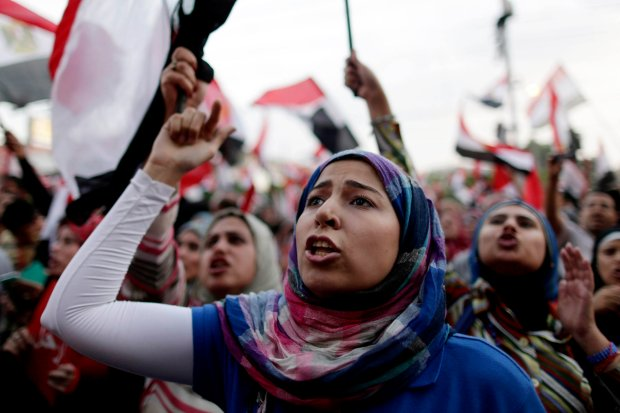 Egyptian women participate in protests in July 2013.