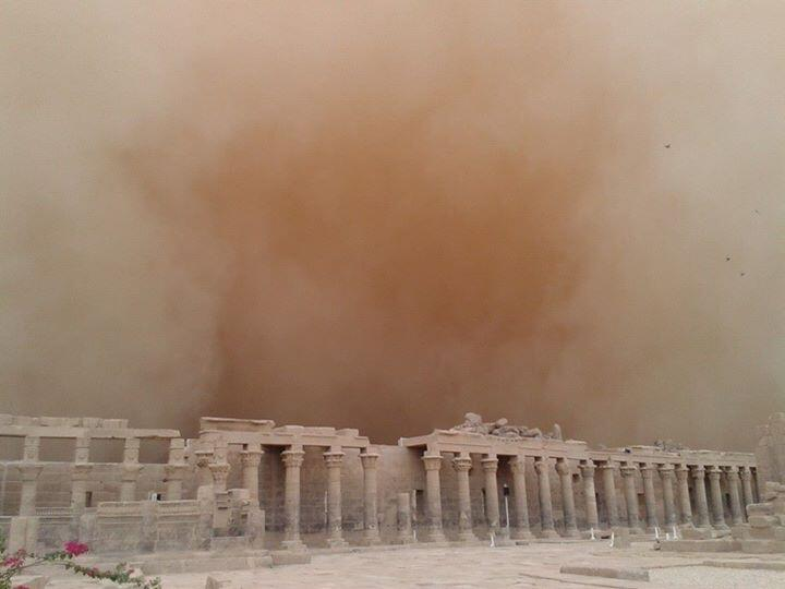 Sandstorm reached ancient pharaonic temples in Aswan Credit: Osama Sobhy