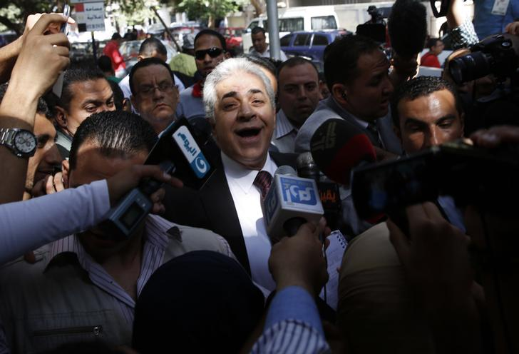 Hamdeen Sabahi at his polling station on the first day of elections.