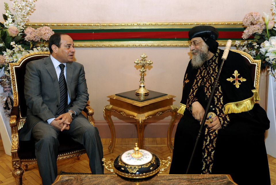 Former Military Chief and the man expected to be Egypt's next President, Abdel Fattah Al-Sisi, meets with Pope Tawadris II to send Easter greetings in April 2014.