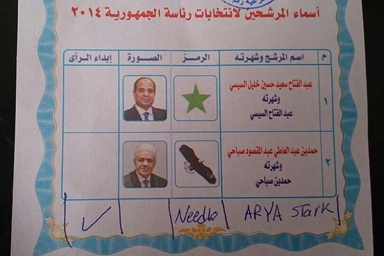 Invalidating votes: a voter chooses Game of Throne's star Arya Stark for President