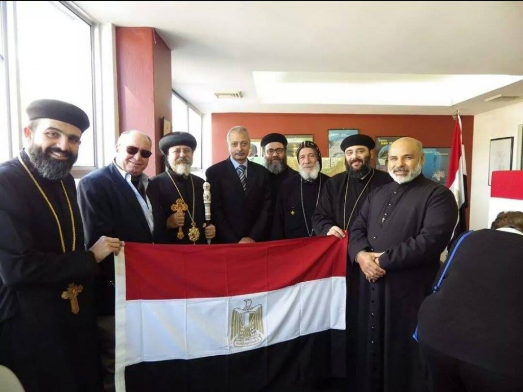 Bishop Daniel of the Coptic Orthodox Church in Sydney along with Egypt's Consul General Ayman Kamel and others.