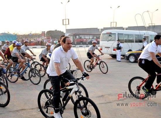 President Al-Sisi at the marathon earlier this morning.