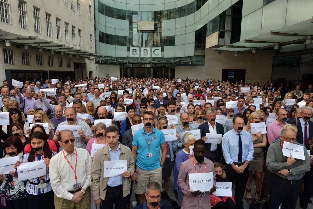 BBC network staff takes part in a Free AJ staff demonstration. Photo: BBC