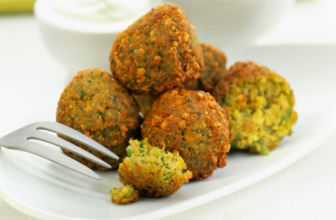 Falafel balls can be eaten alone or in pita bread with tahini.