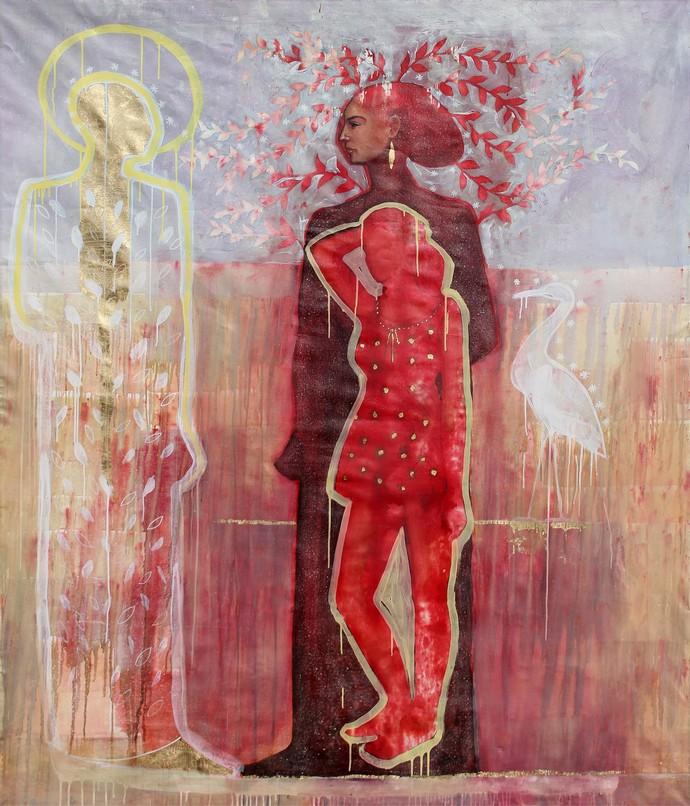 Tamr Henna, Acrylic and oil colors on canvas, 208 x 174 cm (Reda Abdel Rahman, 2014)