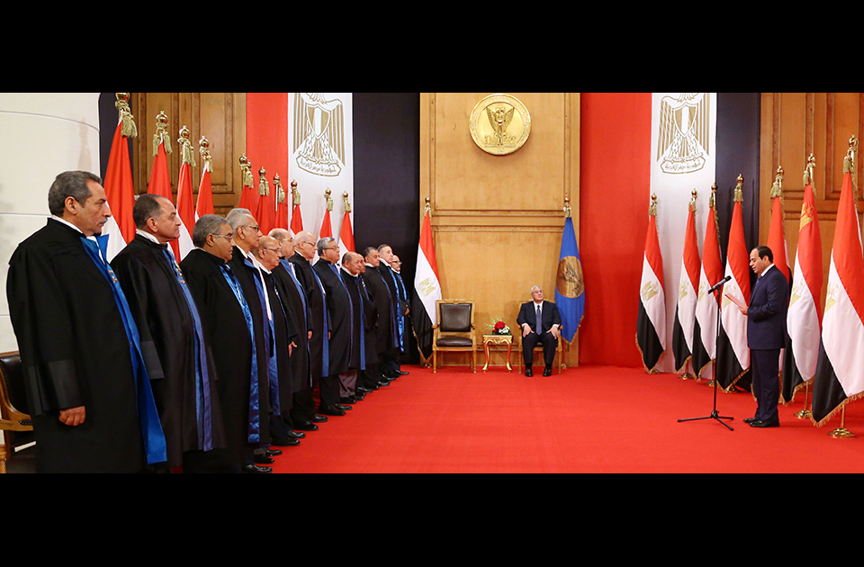 President Abdel Fattah Al- Sisi was sworn into office yesterday at the High Constitutional Court. Photo: AP