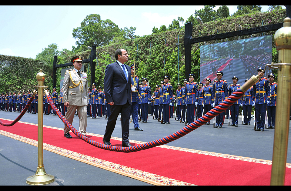President Abdel Fattah Al-Sisi inspecting the Honor Guard. Photo: AP