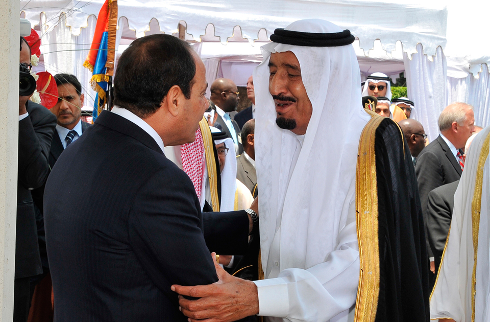 President Al-Sisi greeting Crown Prince Salman of Saudi Arabia. Photo: AP