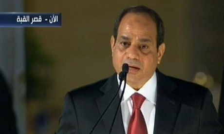 President Al-Sisi giving a speech at Al Qubba Presidential Palace.