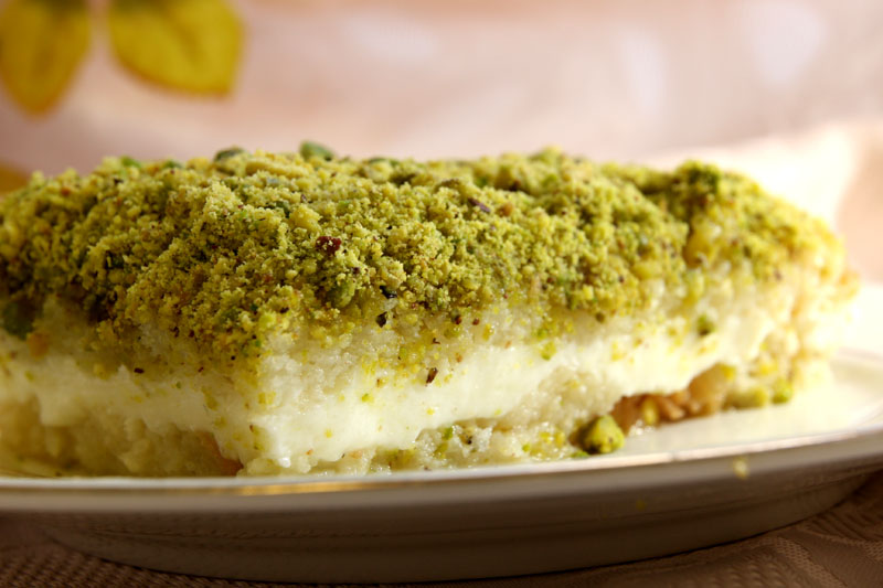 Aish El Saraya topped with pistachio.
