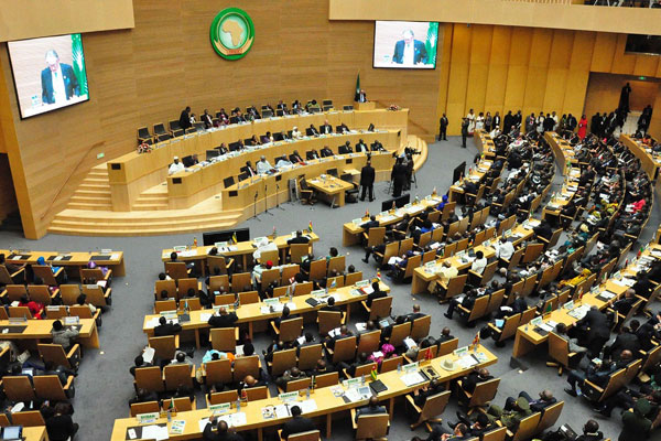 A view taken during the opening session of the AU on January 30, 2014 at the AU headquarters in Addis Ababa.