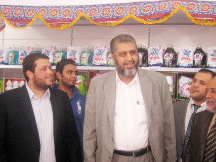 Khairat El-Shater, the Muslim Brotherhood's Vice Supreme Guide, at the opening of Zad supermarkets.