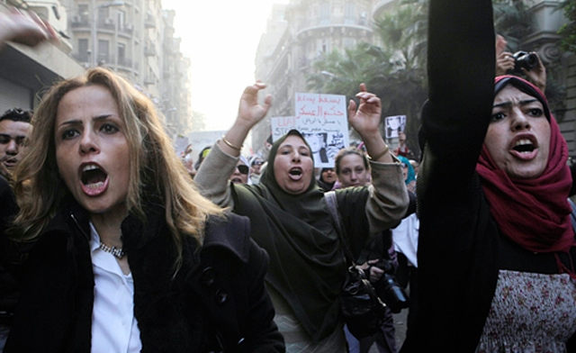 Egyptian women during a protest. Photo: Al Arabiya