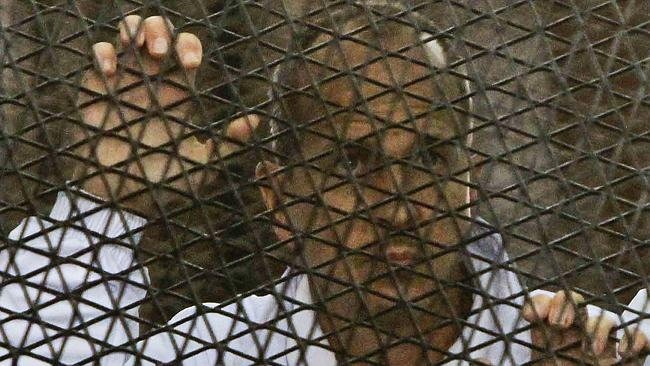 Greste in the defendants cage in a Cairo court on March 5th. Photo: AP