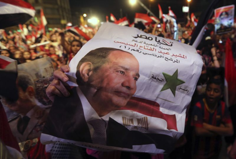 Celebrations for Sisi following the announcement of his victory in June 2014.